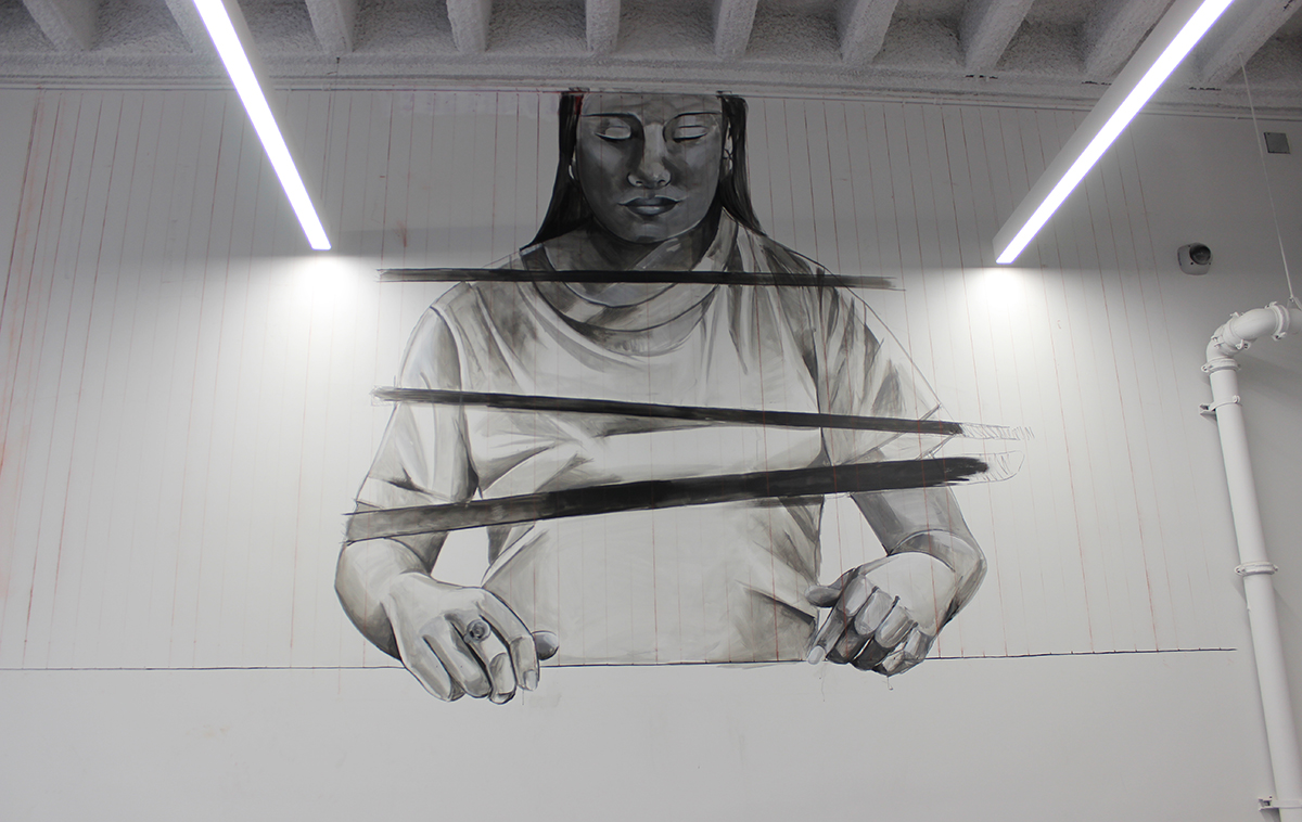photo of the mural in progress
